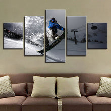 Snow Mountain Skiing 5 Piece HD Multi Panel Canvas Wall Art Frame