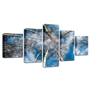 Blue Sky Forest 5 Piece HD Multi Panel Canvas Wall Art Frame