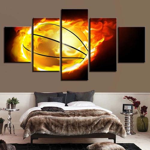 Fiery Basketball 5 Piece HD Multi Panel Canvas Wall Art Frame