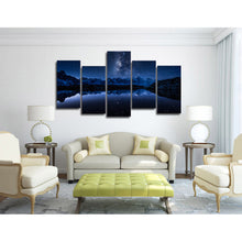 Starry Blue Night 5 Piece HD Multi Panel Canvas Wall Art Frame
