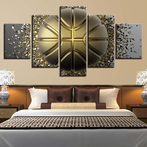 Golden Basketball 5 Piece HD Multi Panel Canvas Wall Art Frame