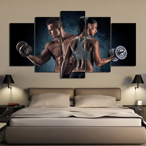 Sport Fitness Dumbbell 5 Piece HD Multi Panel Canvas Wall Art Frame