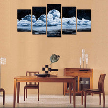 Moon Night View 5 Piece HD Multi Panel Canvas Wall Art Frame