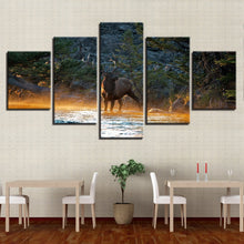 Elk In Forest Stream 5 Piece HD Multi Panel Canvas Wall Art Frame