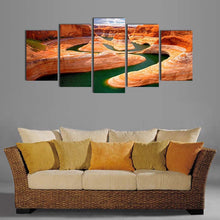 Mountains And River 5 Piece HD Multi Panel Canvas Wall Art Frame
