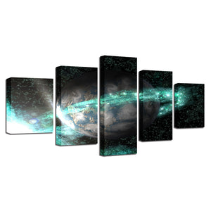 Universe Space Earth 5 Piece HD Multi Panel Canvas Wall Art Frame