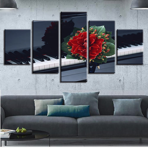 Flower And Piano 5 Piece HD Multi Panel Canvas Wall Art Frame