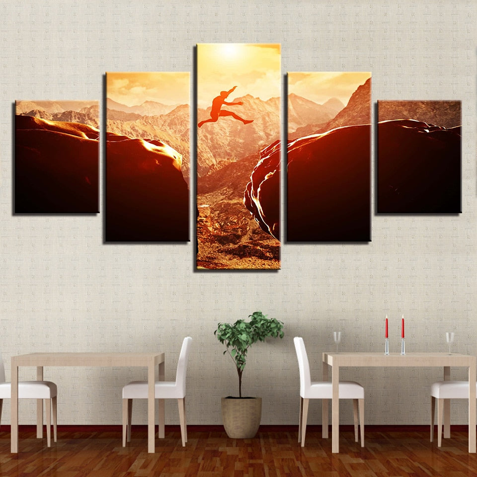 Extreme Mountain Sports 5 Piece HD Multi Panel Canvas Wall Art Frame