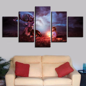 Lantern Child With A Deer 5 Piece HD Multi Panel Canvas Wall Art Frame