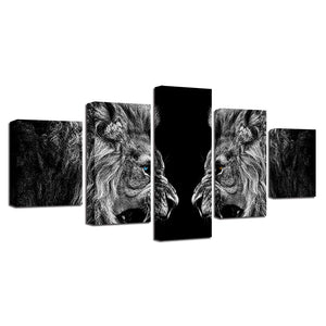 Roaring Lions 5 Piece HD Multi Panel Canvas Wall Art Frame