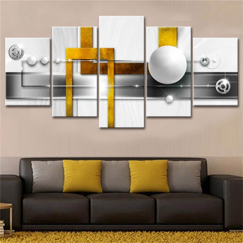 White Pearls 5 Piece HD Multi Panel Canvas Wall Art Frame