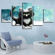 Cat In Snow 5 Piece HD Multi Panel Canvas Wall Art Frame