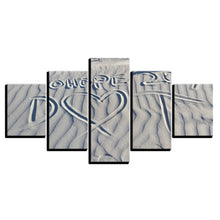 Sand Drawing Love 5 Piece HD Multi Panel Canvas Wall Art Frame