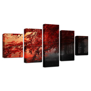 Red Trees Forest 5 Piece HD Multi Panel Canvas Wall Art Frame