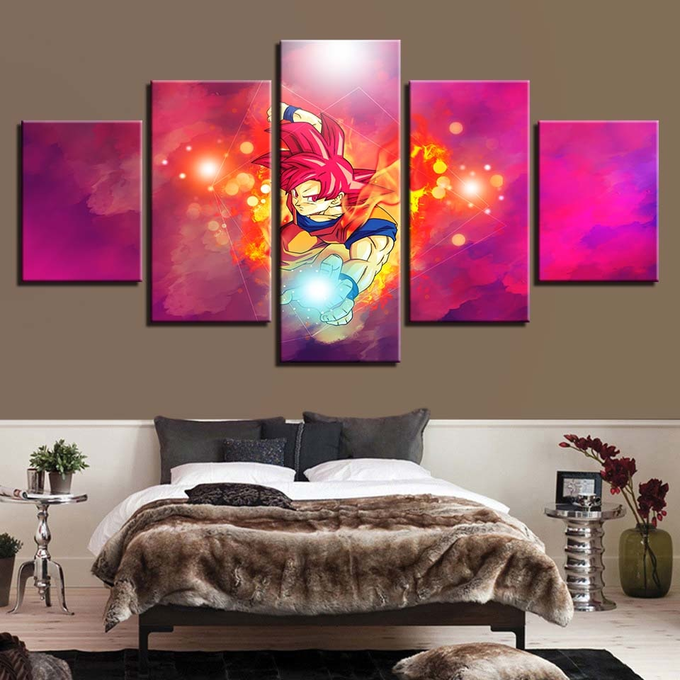 Dragon Ball Z 5 Piece HD Multi Panel Canvas Wall Art Frame