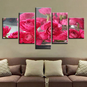 Pink Roses Flowers 5 Piece HD Multi Panel Canvas Wall Art Frame