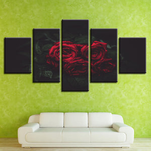 Red And Black Rose Flowers 5 Piece HD Multi Panel Canvas Wall Art Frame