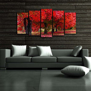 Red Forest Scenery 5 Piece HD Multi Panel Canvas Wall Art Frame