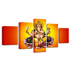 India God Ganesha 5 Piece HD Multi Panel Canvas Wall Art Frame