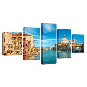 Venice Italy Landscape 5 Piece HD Multi Panel Canvas Wall Art Frame