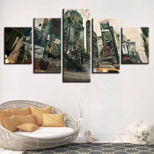 City Destruction 5 Piece HD Multi Panel Canvas Wall Art Frame