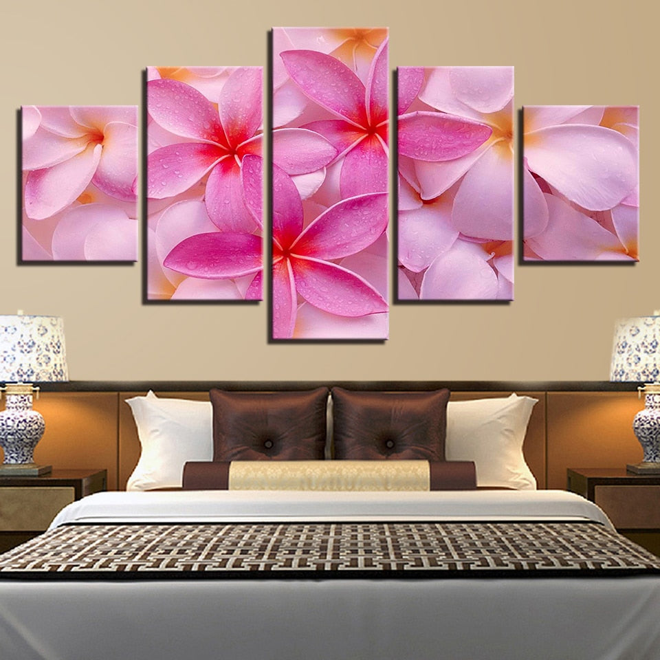 Plumeria Rubra Flowers 5 Piece HD Multi Panel Canvas Wall Art Frame