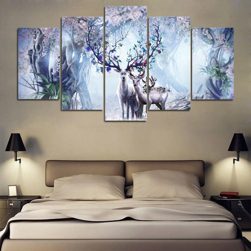 Beautiful Flower Deer 5 Piece HD Multi Panel Canvas Wall Art Frame