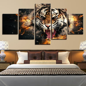 Roaring Tiger 5 Piece HD Multi Panel Canvas Wall Art Frame