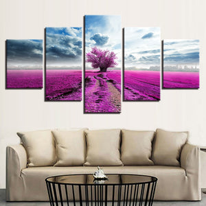 Purple Lavender Tree 5 Piece HD Multi Panel Canvas Wall Art Frame