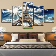 Sunlit Eiffel Tower 5 Piece HD Multi Panel Canvas Wall Art Frame