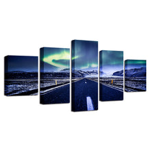 Aurora Mountain Highway 5 Piece HD Multi Panel Canvas Wall Art Frame