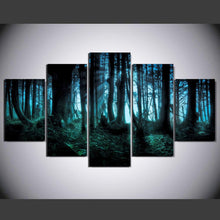 Blue Forest Night View 5 Piece HD Multi Panel Canvas Wall Art Frame