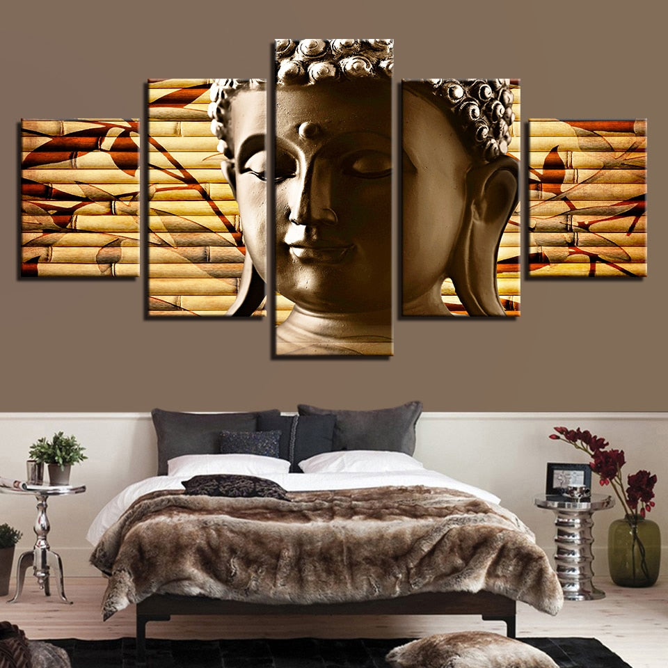 Face of Buddha 5 Piece HD Multi Panel Canvas Wall Art Frame