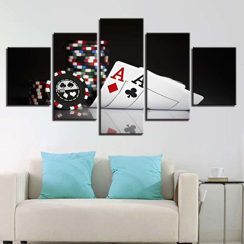 Poker Cards 5 Piece HD Multi Panel Canvas Wall Art Frame
