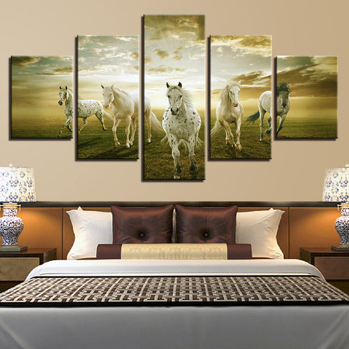White Horses 5 Piece HD Multi Panel Canvas Wall Art Frame