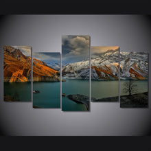 Cloudy Mountain Scene 5 Piece HD Multi Panel Canvas Wall Art Frame