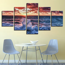 Ocean Waves 5 Piece HD Multi Panel Canvas Wall Art Frame