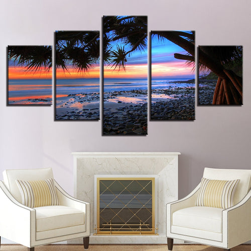 Sunrise Beach 5 Piece HD Multi Panel Canvas Wall Art Frame