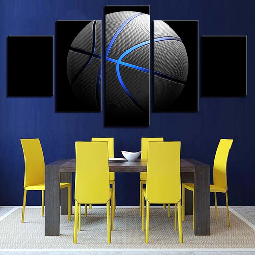 Blue Basketball 5 Piece HD Multi Panel Canvas Wall Art Frame