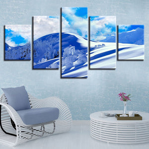 Blue Sky And Snow Mountain 5 Piece HD Multi Panel Canvas Wall Art Frame