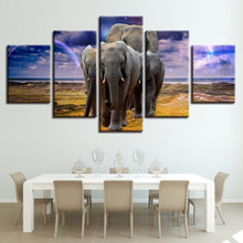 Elephant Family 5 Piece HD Multi Panel Canvas Wall Art Frame