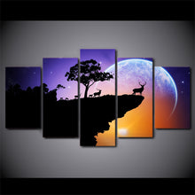 Deer at The Cliff 5 Piece HD Multi Panel Canvas Wall Art Frame