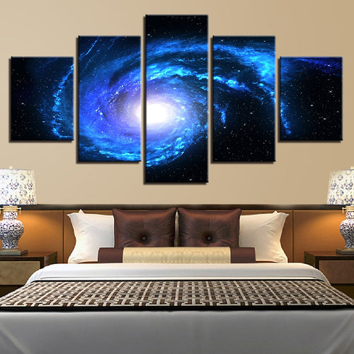 Cosmic Space Galaxy 5 Piece HD Multi Panel Canvas Wall Art Frame