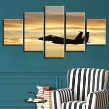 Panel Sunset Airplane 5 Piece HD Multi Panel Canvas Wall Art Frame