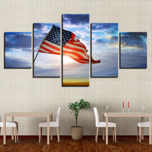 American Flag Flying Under The Blue Sky 5 Piece HD Multi Panel Canvas Wall Art Frame