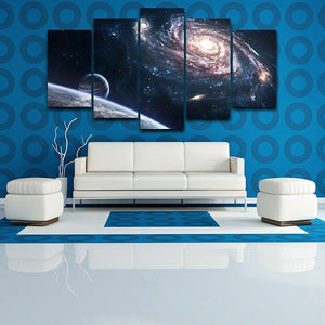 Outer Space 5 Piece HD Multi Panel Canvas Wall Art Frame