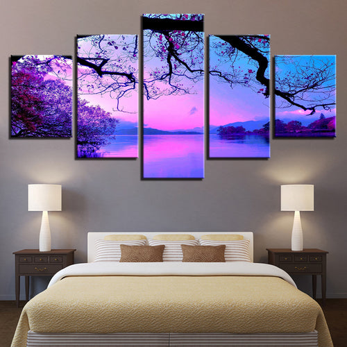 Purple Sunset Trees 5 Piece HD Multi Panel Canvas Wall Art Frame