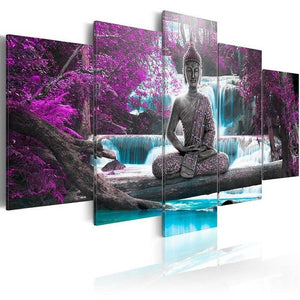 Buddha Waterfall 5 Piece HD Multi Panel Canvas Wall Art Frame