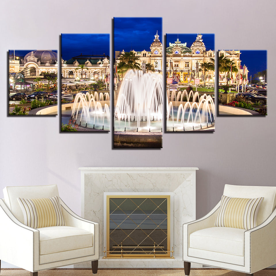 Beautiful Palace Fountain 5 Piece HD Multi Panel Canvas Wall Art Frame