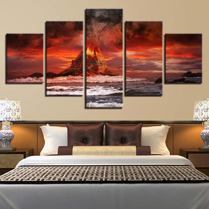 Volcanoes 5 Piece HD Multi Panel Canvas Wall Art Frame